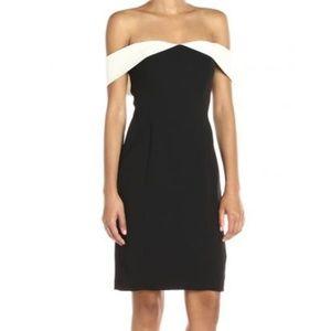 CALVIN KLEIN CREPE CONTRAST SHEATH DRESS 6